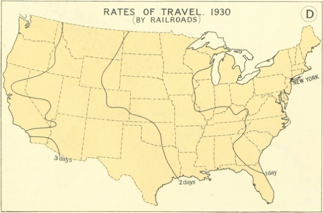 How Fast You Could Travel Across The United States In Up - 1800 us map